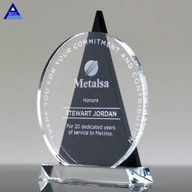 New Arrival Cheap Customized Nice Design Top Round Black Crystal Icon Award Trophy With Gift Box