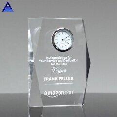 Unique Design Crystal Square Faceted Clock Award Trophy