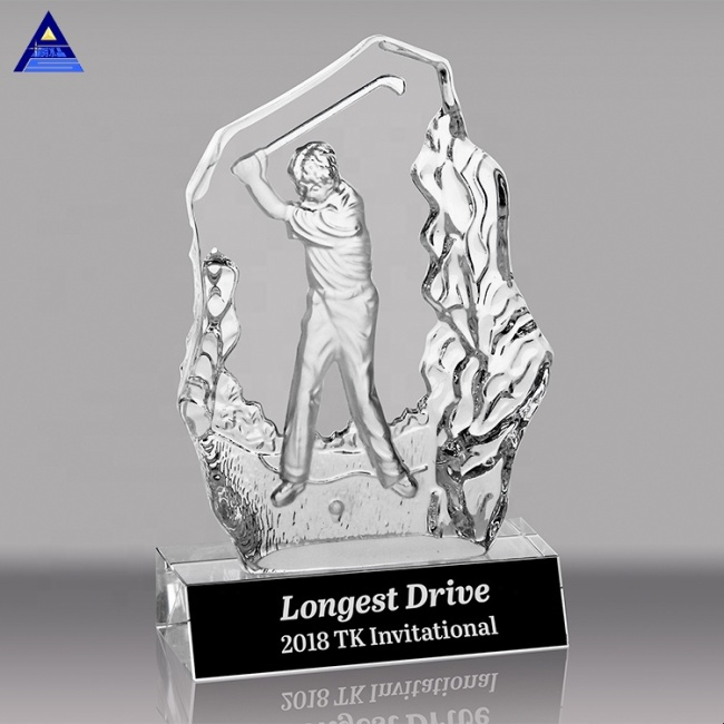 New Design Custom 3D Laser Golf Match Winner Name Engraved Crystal Award Trophy Souvenir
