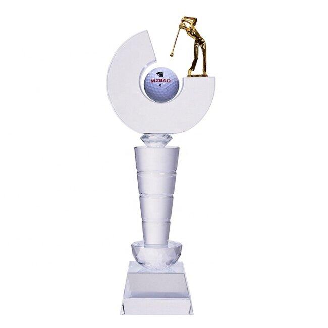 High Quality Sports Figure Sculpture Custom Gold Color Metal Golf Trophy For Sports Souvenir