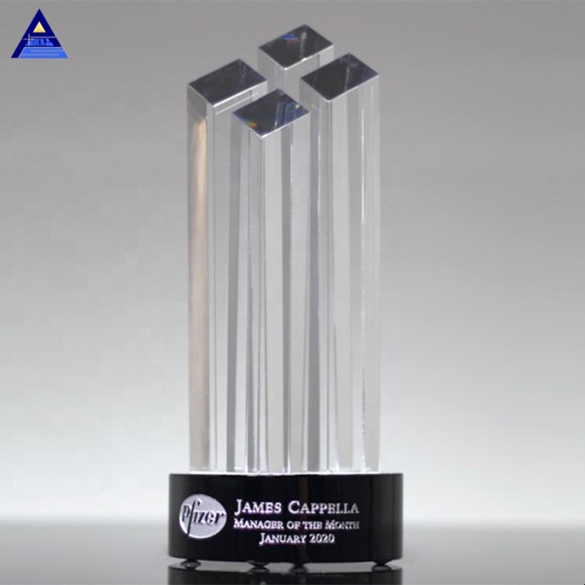 2019 Popular Black Base Towers Crystal Diamond Award for Name Engraving