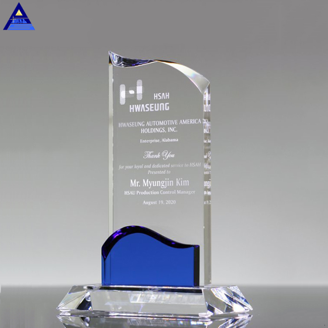 Hot Sale Customized Shape Clear Glass Crystal Trophy Award