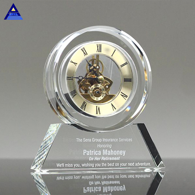 Spot Wholesale Transparent Crystal Mechanical Office Clock Custom Desk Crystal Clock For Gift