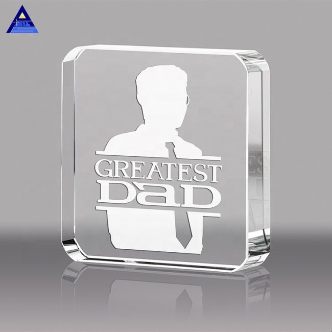 China Wholesale OEM Service Laser Engraving Square Crystal Paper Weight For Business Souvenir Gift