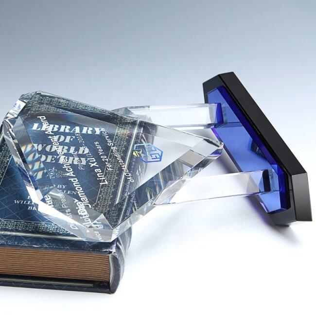 Crystal Diamond Shape Clear Sapphire Award For Corporate Gift Diamond Trophy Crystal