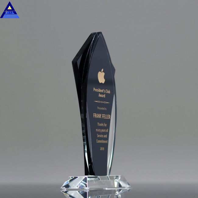 Wholesale Business Crystal Sample Award Plaques K9 Black Blank Glass Crystal Awards Plaque Trophy