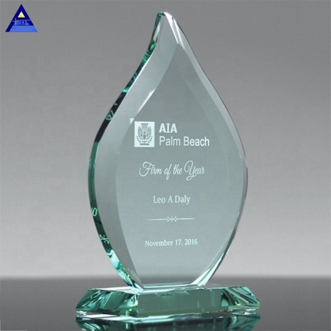 Custom Logo Design Flame Shape Jade Crystal Glass Shield Awards