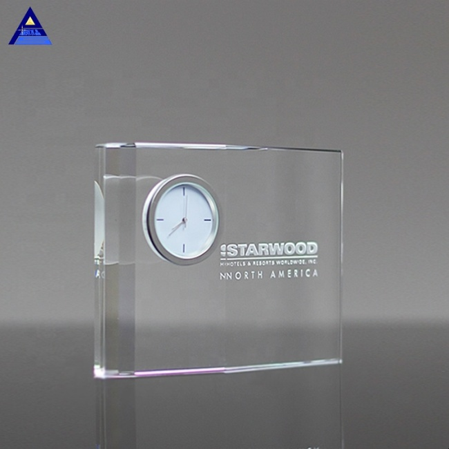 Wholesale Customer Design Transparent Optical Decorative Crystal Clock For Office Use