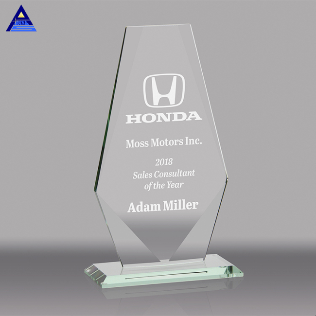 Custom Blank Engraved Clear Irregular Glass Crystal Award Trophy For Business Plaques