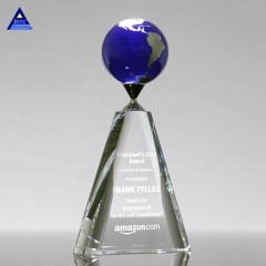 Custom Size Crystal Glass World Map Globe Centerpieces, Crystal Earth Globe For Business Gifts