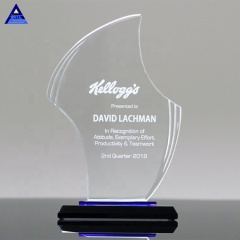 China Custom Souvenir Blank Gratitude Crystal Flame Award Trophy,Engraved Glass Awards
