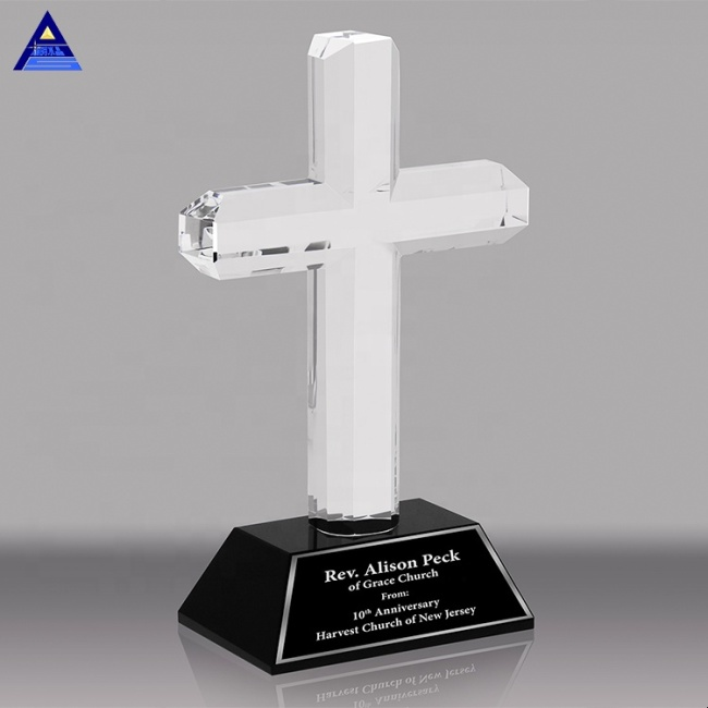 High Quality Factory Wholesale Custom Made K9 Crystal Awards Cross Trophies For Souvenir Gifts