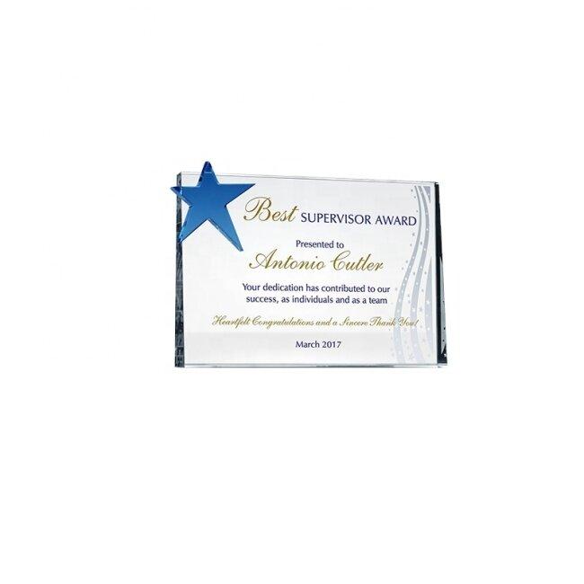 high quality classical design blank block blue star trophy crystal award plaque