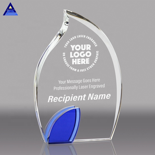 Promotional Product Custom Engraving K9 Crystal Flame Trophy For Cooperation Award