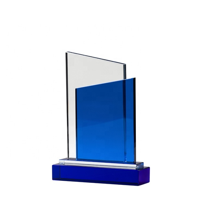 Blue Crystal Medal K9 Crystal Trophy Medal Glass Awards Wholesale