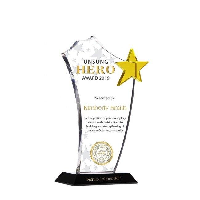 New Design Custom Crystal Blank Star Plaque Trophy Crystal Glass Awards