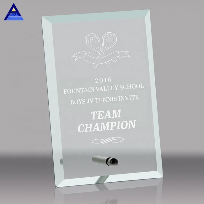 Rectangular Style Glass Photo Awards Trophy With Metal Stand For Corporated Gifts