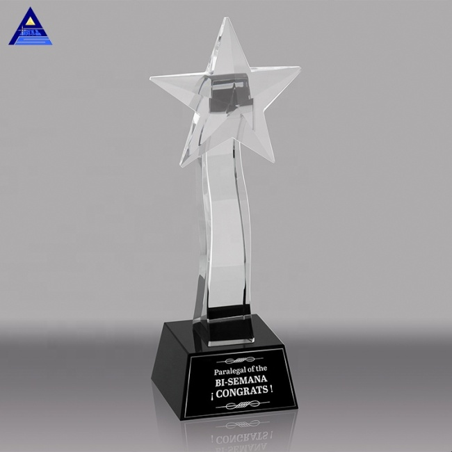 Unique Design Shining Star Trophies And Crystal Shooting Star Award