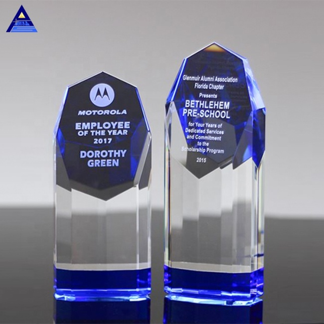 New Design Engraving Beveled Sapphire Crystal Award Trophy For Business Gift