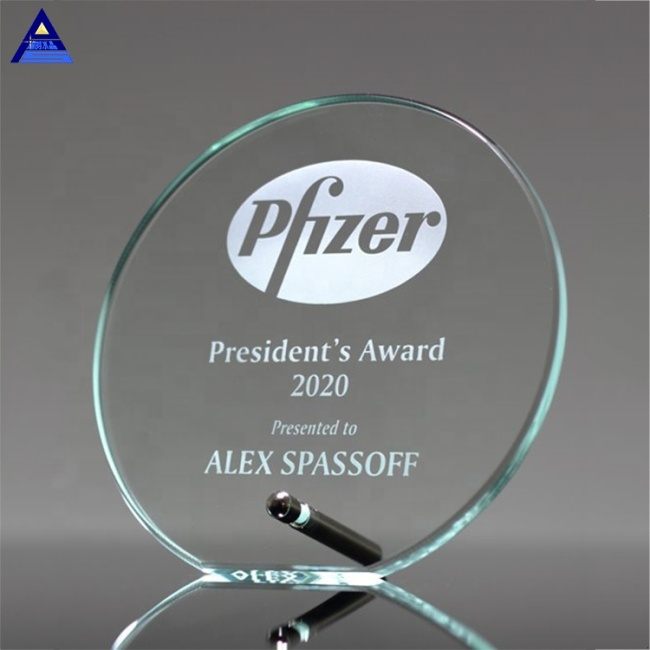 Hot Selling Laser Etched Circle Glass Crystal Award Trophy Achievement Awards For Souvenir