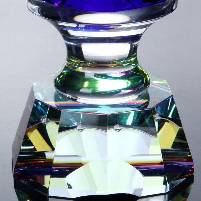 New Design Crystal Awards Clear Blue Cup Crystal Glass Blue Diamond For Crystal Diamond Trophies