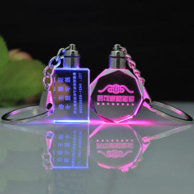 3D Laser Engraving Glass Keyring Wholesale Transparent LED Crystal Keychain
