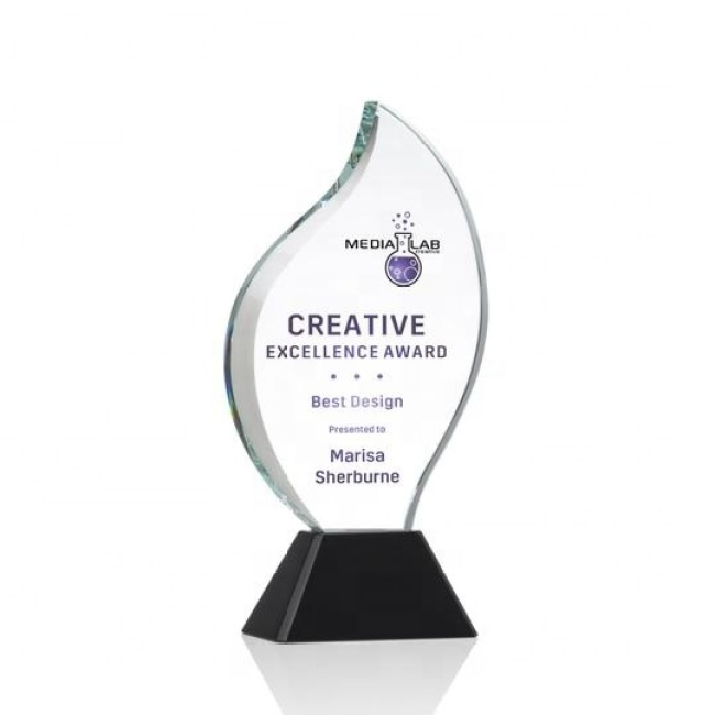 Cheap Customized Engraving Crystal Trophy Flame Plaque Crystal Glass Cup Crystal Trophy Award