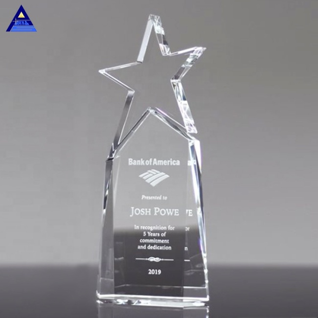 Low Price Triumph Award Blank Crystal Star Trophy With Factory Price