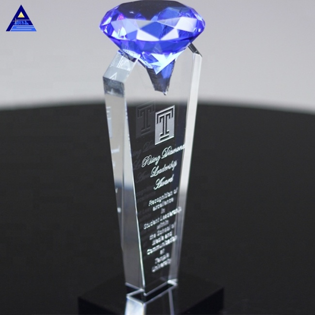 Sublimation Glass Classics Blue Crystal Diamond Trophy For Souvenir Gifts