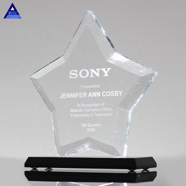 Blank Crystal Black Base Star Awards Trophy for Promotional Souvenirs