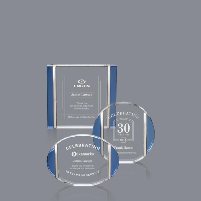 Custom  shape cube gifts customize logo transparent  blue  crystal awards for gifts