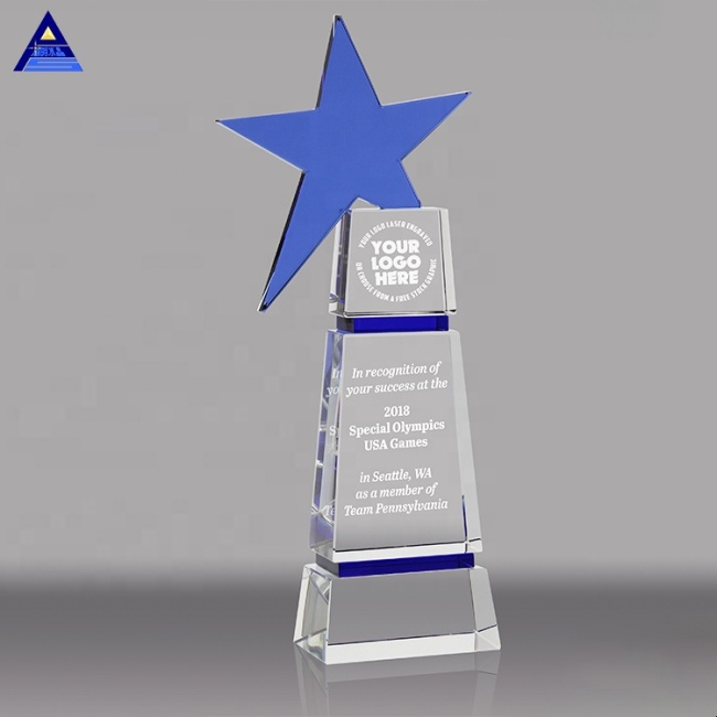 High Quality Souvenir Gift Glass Blue Star Crystal Award Trophy For Employees Awards