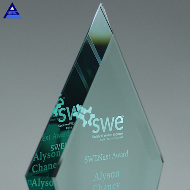 Various Size Cheap Clear Crystal Beveled Diamond Blank Jade Glass Award Trophy