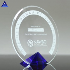 Wholesale Crystal Blue Cyrk Shield Award Diamond Sailboat Shape Crystal Award