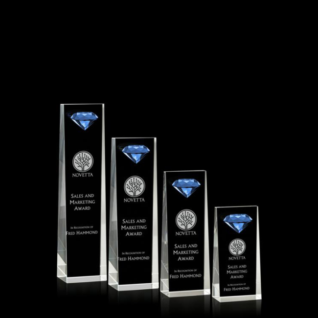 Pujiang Diamond shape crystal cube trophy k9 blue crystal and  trophy award