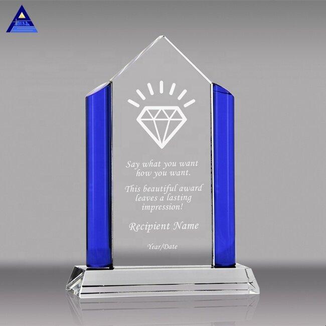 Custom diamond shaped crystal trophy award manufacturers