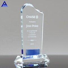 Wholesale Crystal Trophy Gift Clear Flame Cobalt Gem Wave Crystal Trophy With Base