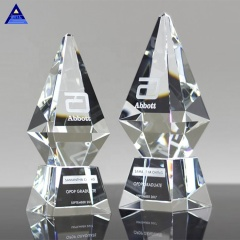 2019 Newest Style 3D Laser Engraved Cheap Clear Optic Crystal Award Tower Trophy