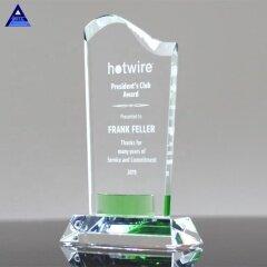 Engraved Logo Clear Green Gem Wave Crystal Trophy for Success Honor Awards