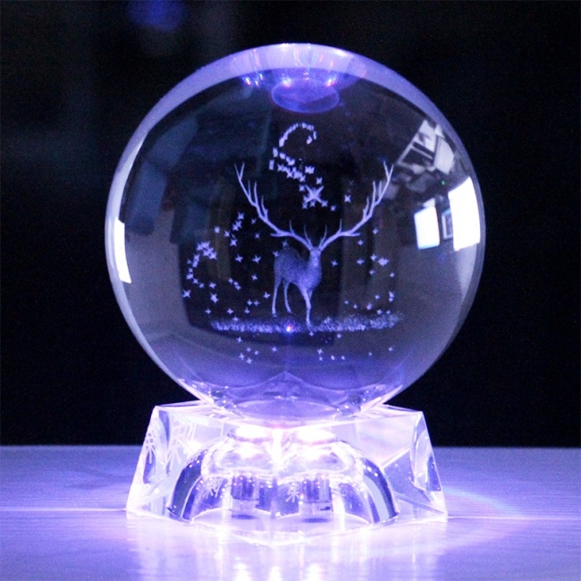 FS Crystal Hot Sale 3D Laser Engraving Clear Round Shape Crystal Craft Photography Crystal Ball With LED Light Base