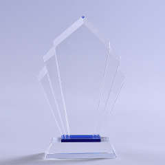 China Factory OEM Service Engraving Rhombic Shape Trophy Blank Crystal Award With Base
