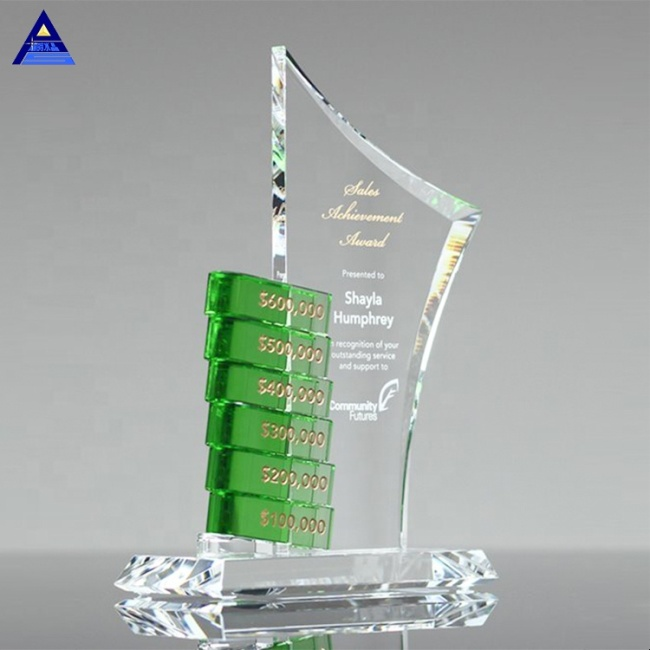New Design Personalized Custom Employee Goal Achievement Crystal Trophy And Award