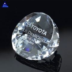 Cheap Illuminate Slant Crystal 3D Laser Etched Paperweight With Diamond