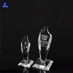 Wholesale Custom 3D Clear Optical Crystal Torch Award World Cup Trophy