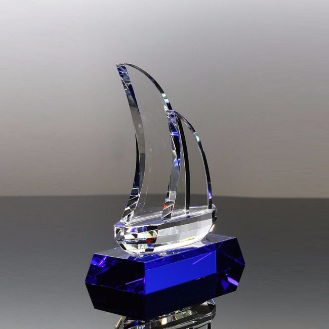 Trophy Cup Glass Trophies Sport Award Block 3D Cube Blue Crystal Awards