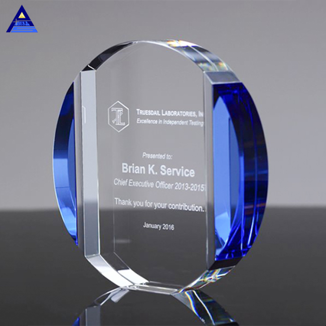 Premium Clear Glass Trophies Blank Shape Clear Blue Crystal Sports Circle Award