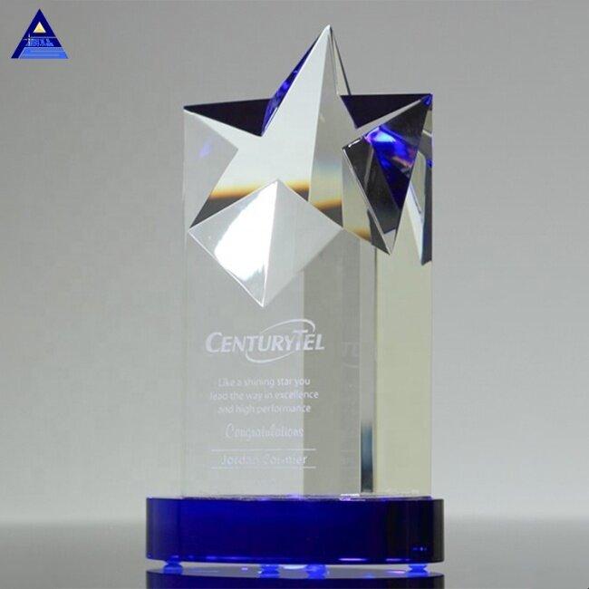 Elegant Clear Rising Star Blue Crystal Tower Trophy
