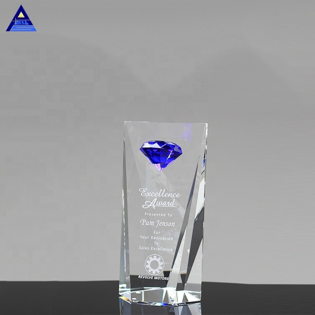 Excellence Sapphire Blue Crystal Diamond Award Trophy For Sales Goal