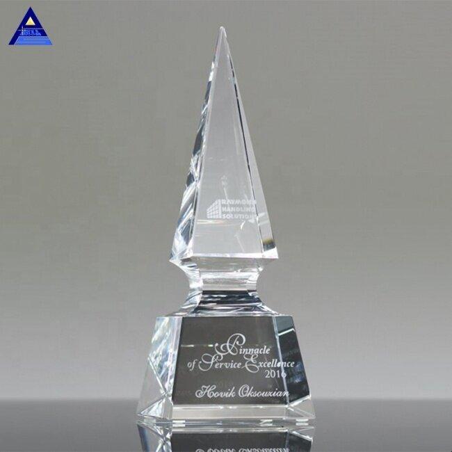 New Design Creative Customize Spear Obelisk Shape Crystal Trophy For Business Gift