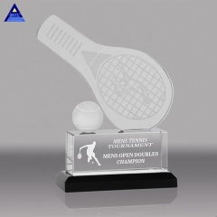 Wholesale Logo Engraving Cheap Custom Table Tennis Crystal Trophy For Souvenir
